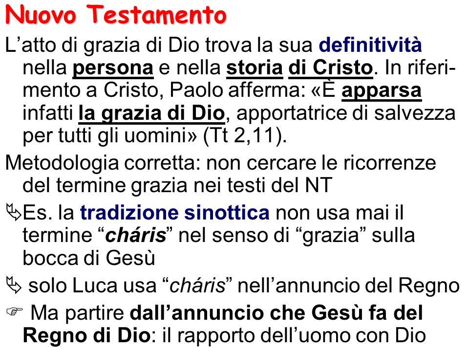 Nuovo Testamento Latto di grazia di Dio trova la sua definitività nella persona e nella storia di Cristo. In riferi- mento a Cristo, Paolo afferma: «È
