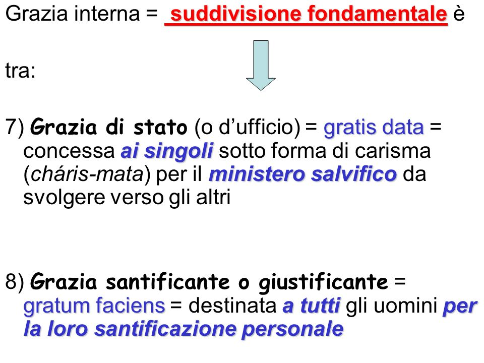 suddivisione fondamentale Grazia interna = suddivisione fondamentale è tra: gratis data ai singoli ministero salvifico 7) Grazia di stato (o dufficio)