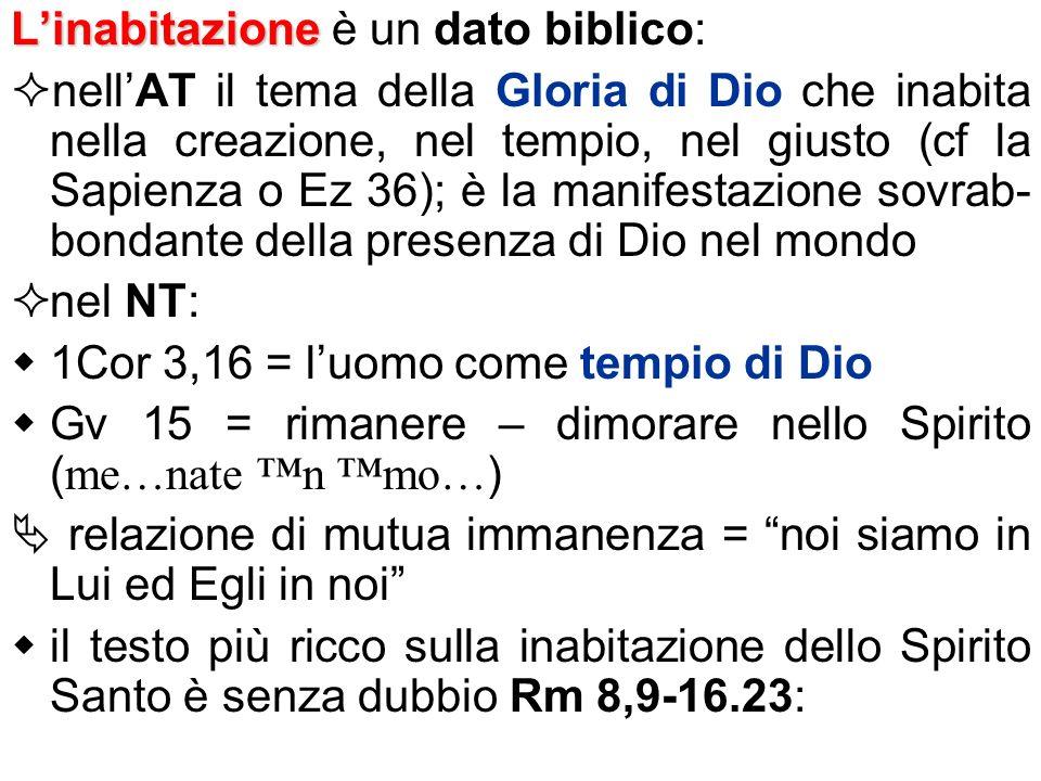 Linabitazione Linabitazione è un dato biblico: nellAT il tema della Gloria di Dio che inabita nella creazione, nel tempio, nel giusto (cf la Sapienza