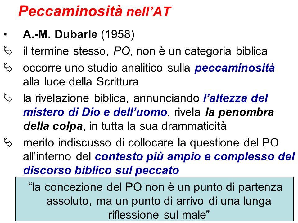 Peccaminosità nellAT A.-M. Dubarle (1958) il termine stesso, PO, non è un categoria biblica occorre uno studio analitico sulla peccaminosità alla luce
