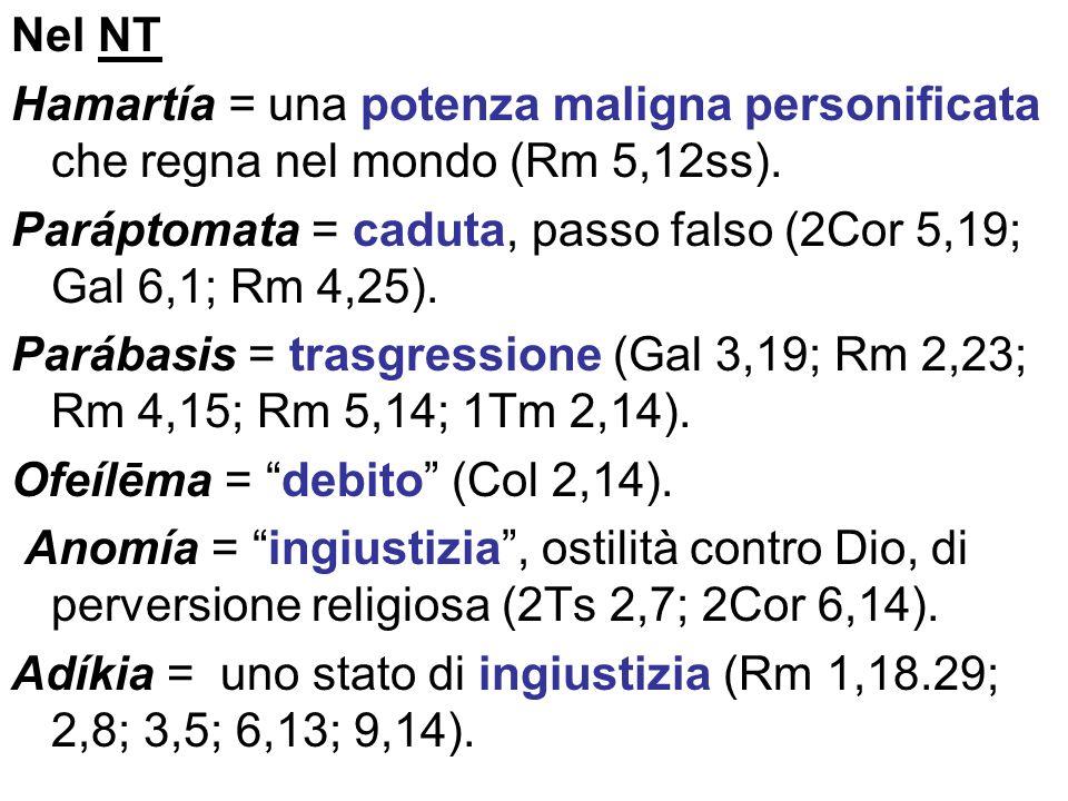 Nel NT Hamartía = una potenza maligna personificata che regna nel mondo (Rm 5,12ss). Paráptomata = caduta, passo falso (2Cor 5,19; Gal 6,1; Rm 4,25).