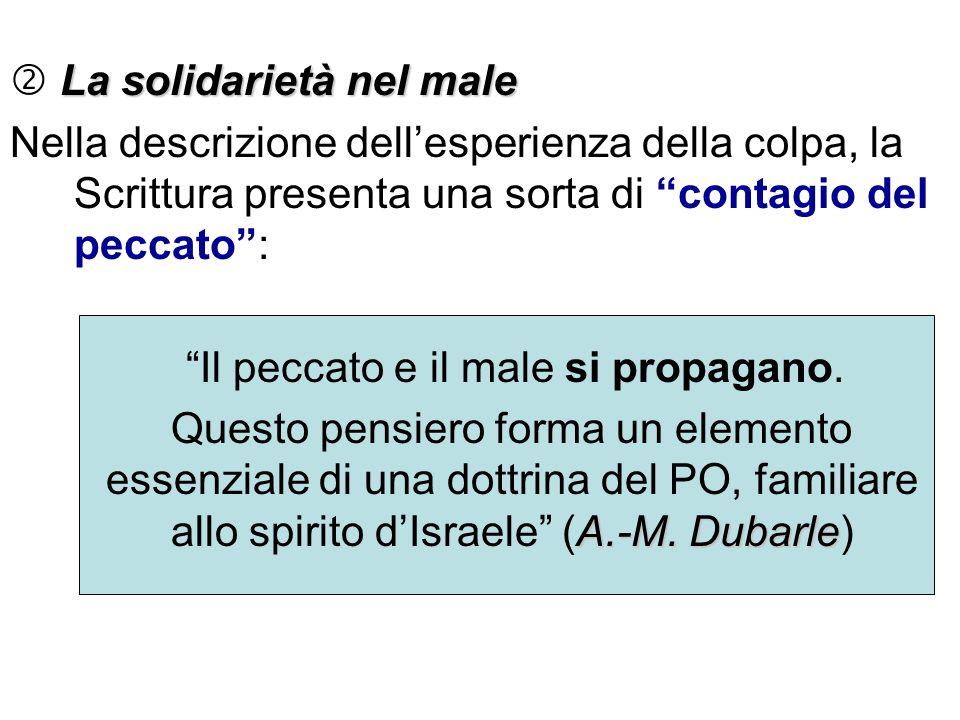 La solidarietà nel male Nella descrizione dellesperienza della colpa, la Scrittura presenta una sorta di contagio del peccato: Il peccato e il male si
