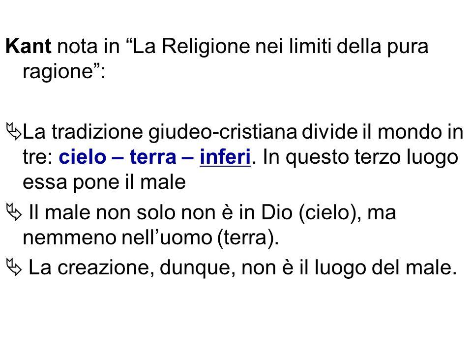 Kant nota in La Religione nei limiti della pura ragione: La tradizione giudeo-cristiana divide il mondo in tre: cielo – terra – inferi. In questo terz