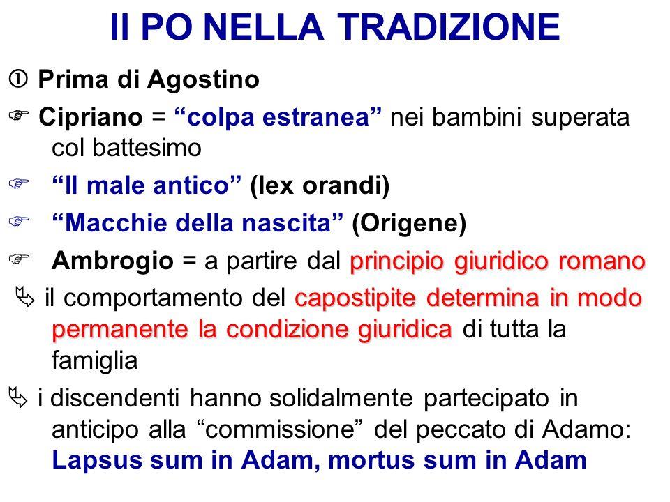 Il PO NELLA TRADIZIONE Prima di Agostino Cipriano = colpa estranea nei bambini superata col battesimo Il male antico (lex orandi) Macchie della nascit