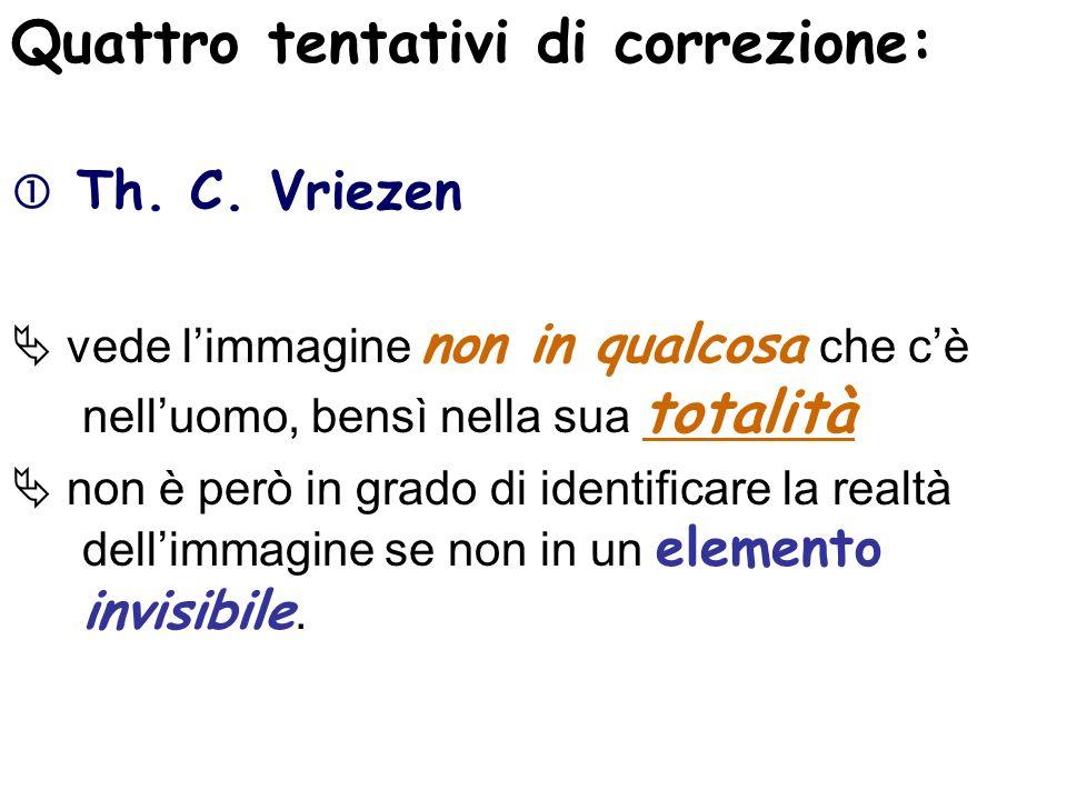 Quattro tentativi di correzione: Th. C. Vriezen vede limmagine non in qualcosa che cè nelluomo, bensì nella sua totalità non è però in grado di identi