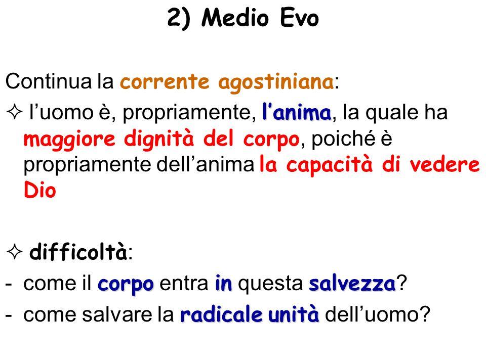 2) Medio Evo Continua la corrente agostiniana : lanima luomo è, propriamente, lanima, la quale ha maggiore dignità del corpo, poiché è propriamente de