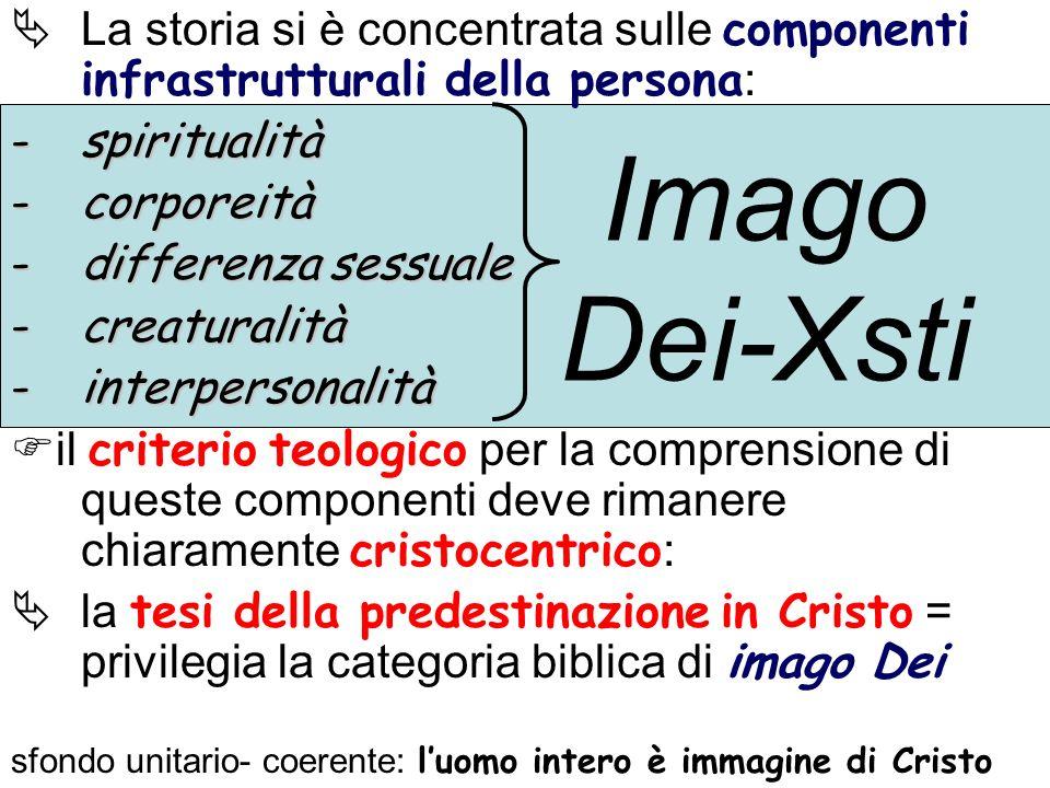 La storia si è concentrata sulle componenti infrastrutturali della persona : -spiritualità -corporeità -differenza sessuale -creaturalità -interperson