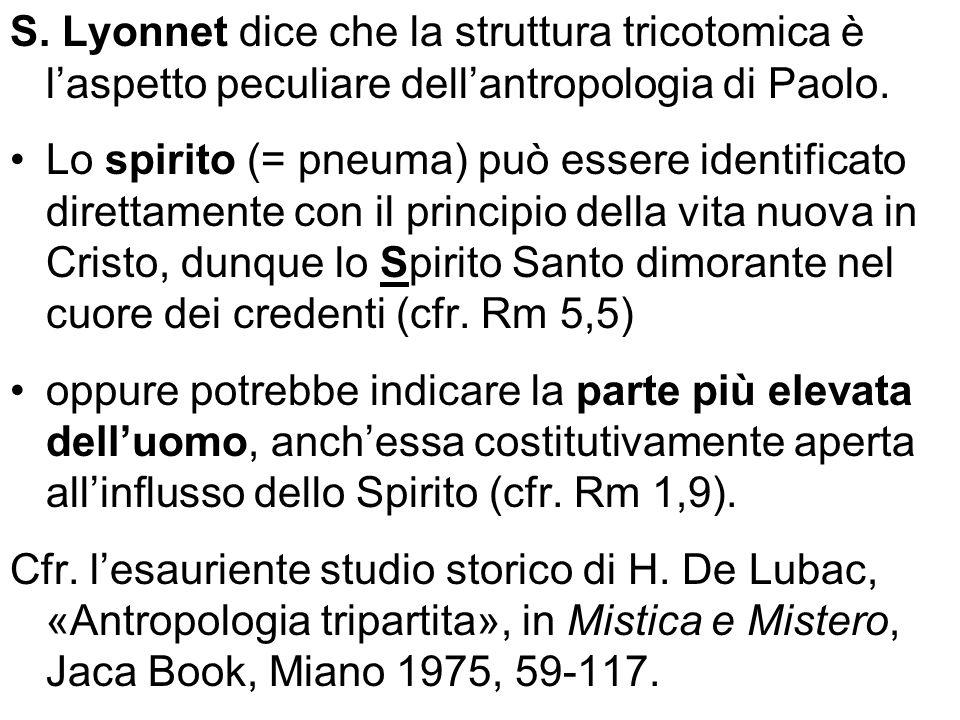 S. Lyonnet dice che la struttura tricotomica è laspetto peculiare dellantropologia di Paolo. Lo spirito (= pneuma) può essere identificato direttament