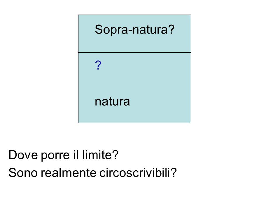 Sopra-natura? ? natura Dove porre il limite? Sono realmente circoscrivibili?