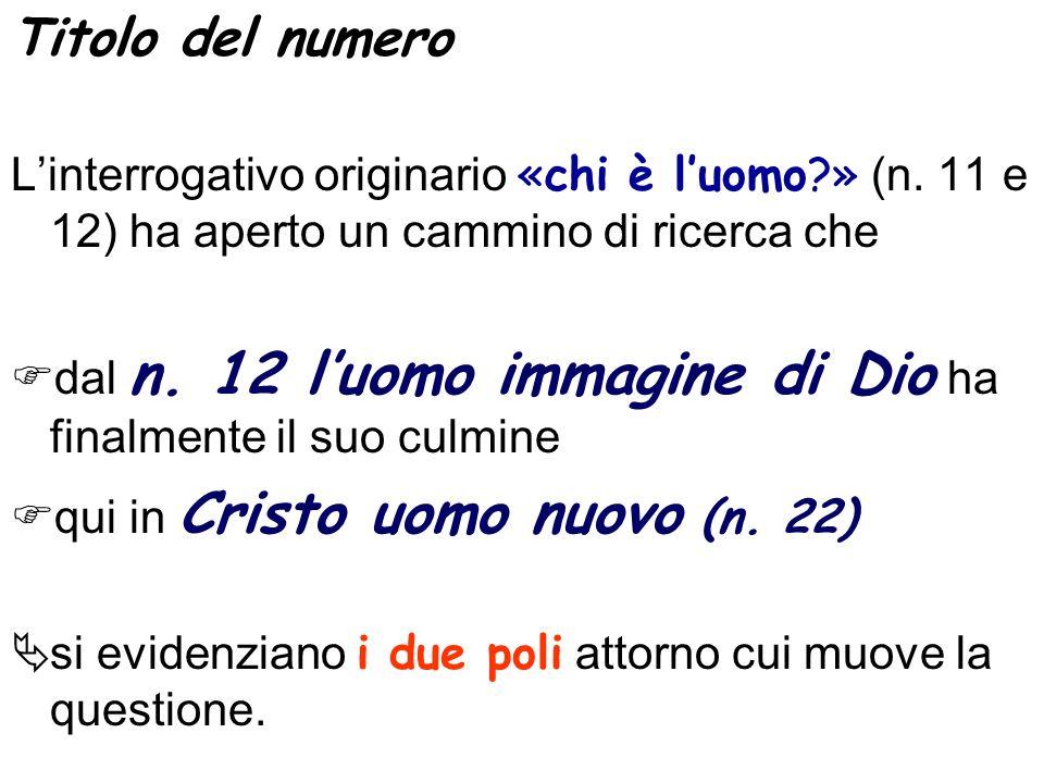 Titolo del numero Linterrogativo originario «chi è luomo?» (n.