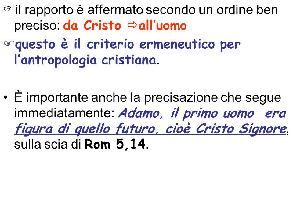 il rapporto è affermato secondo un ordine ben preciso: da Cristo alluomo questo è il criterio ermeneutico per lantropologia cristiana.