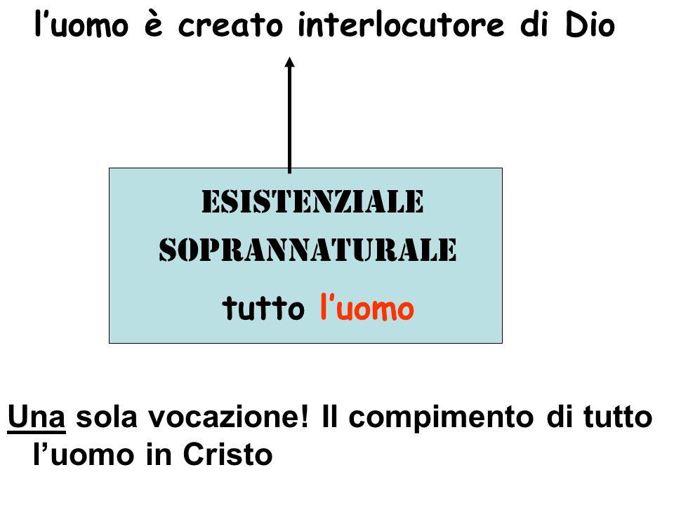 luomo è creato interlocutore di Dio Esistenziale soprannaturale tutto luomo Una sola vocazione.