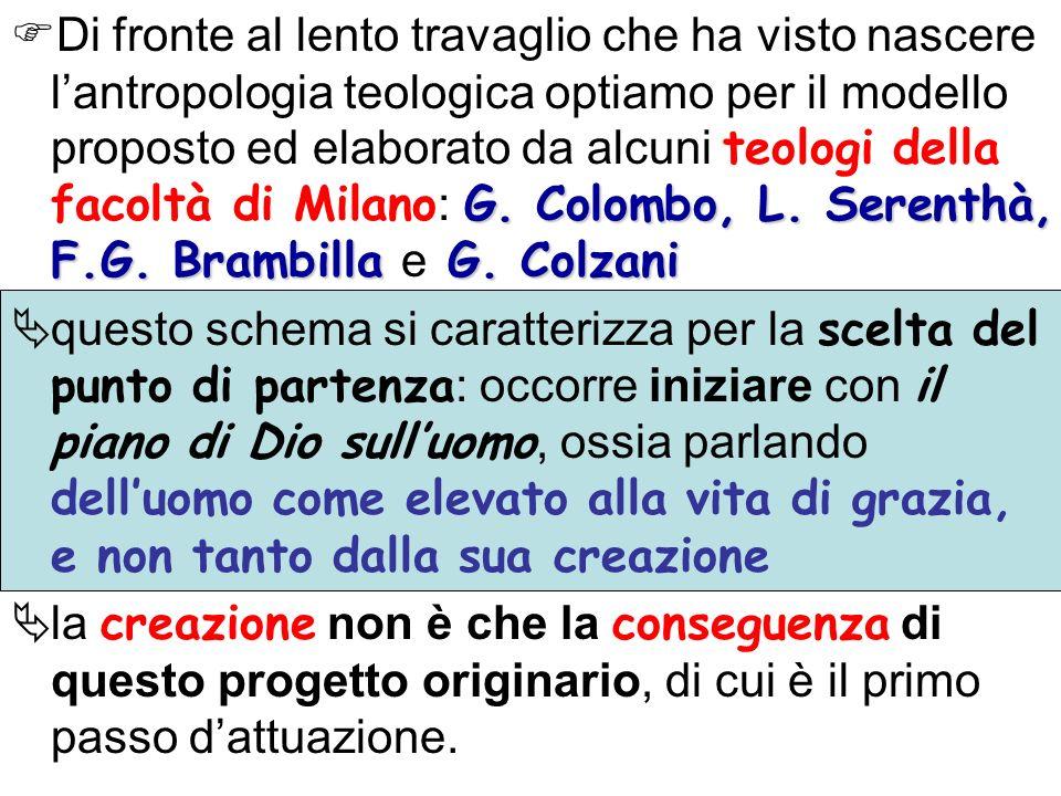 G. Colombo, L. Serenthà, F.G. Brambilla G. Colzani Di fronte al lento travaglio che ha visto nascere lantropologia teologica optiamo per il modello pr