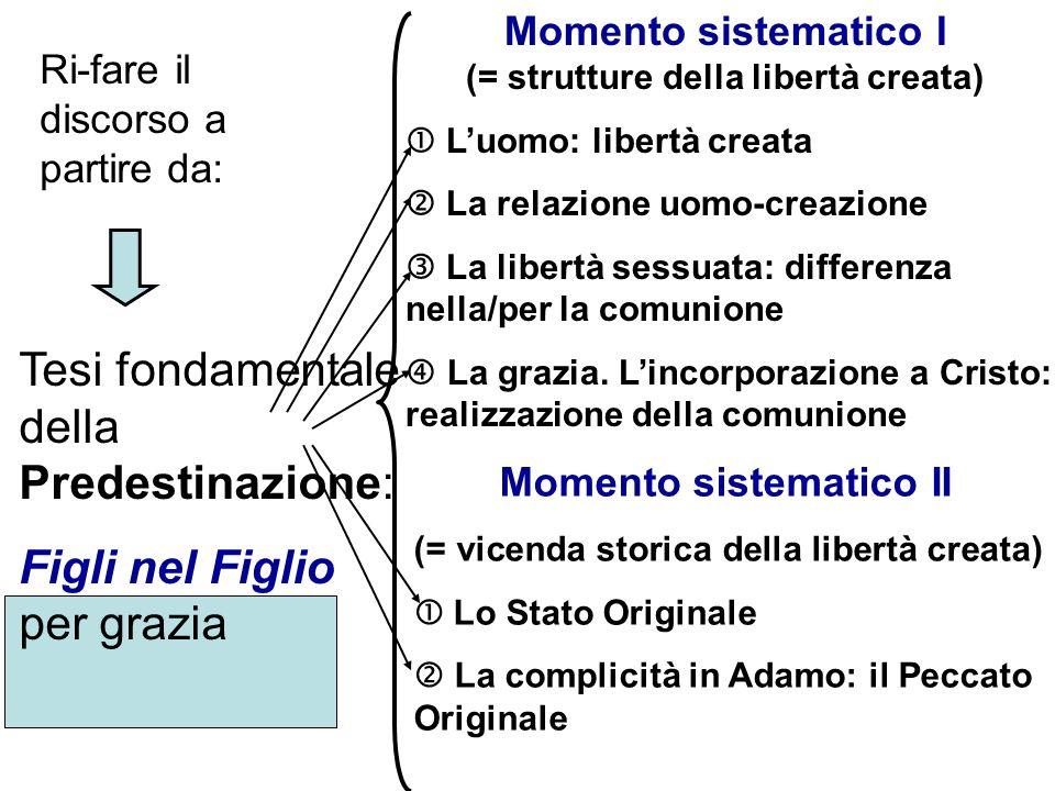 Tesi fondamentale della Predestinazione: Figli nel Figlio per grazia Momento sistematico I (= strutture della libertà creata) Luomo: libertà creata La