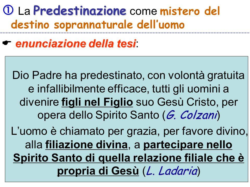 Predestinazione La Predestinazione come mistero del destino soprannaturale delluomo enunciazione della tesi enunciazione della tesi: G. Colzani Dio Pa