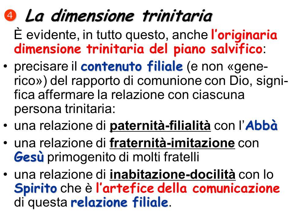 La dimensione trinitaria La dimensione trinitaria È evidente, in tutto questo, anche loriginaria dimensione trinitaria del piano salvifico : contenuto