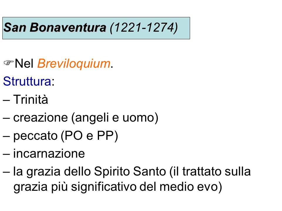 San Bonaventura San Bonaventura (1221-1274) Nel Breviloquium. Struttura: – Trinità – creazione (angeli e uomo) – peccato (PO e PP) – incarnazione – la
