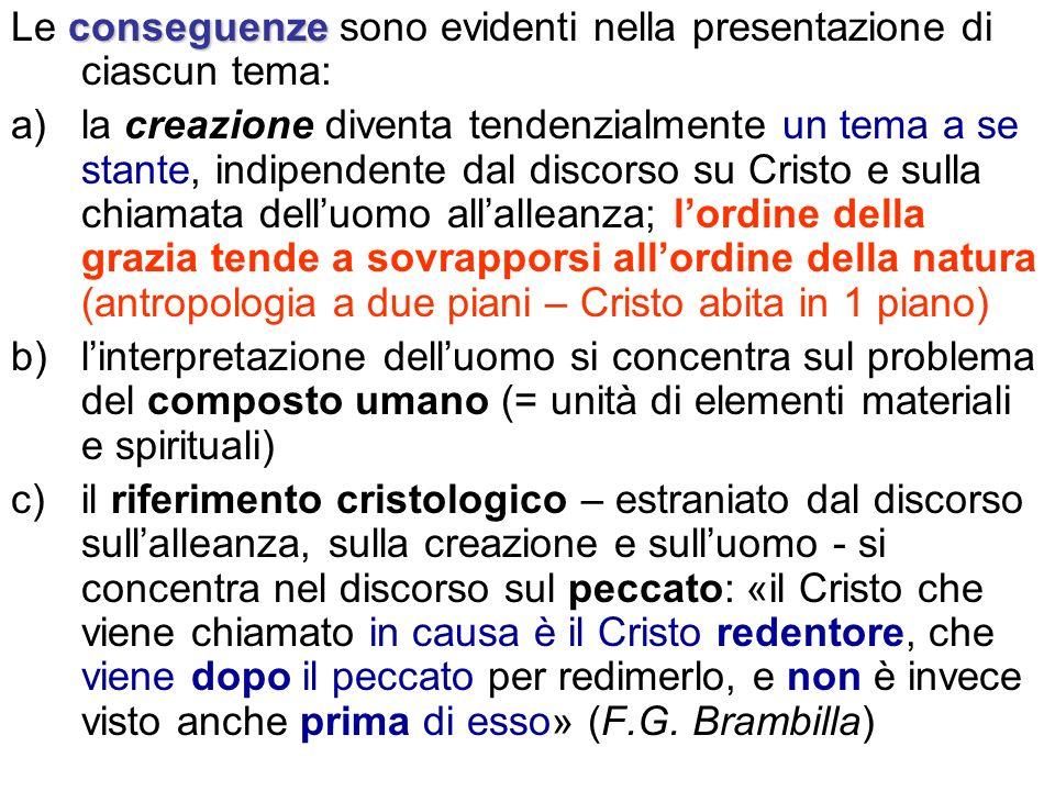 conseguenze Le conseguenze sono evidenti nella presentazione di ciascun tema: a)la creazione diventa tendenzialmente un tema a se stante, indipendente