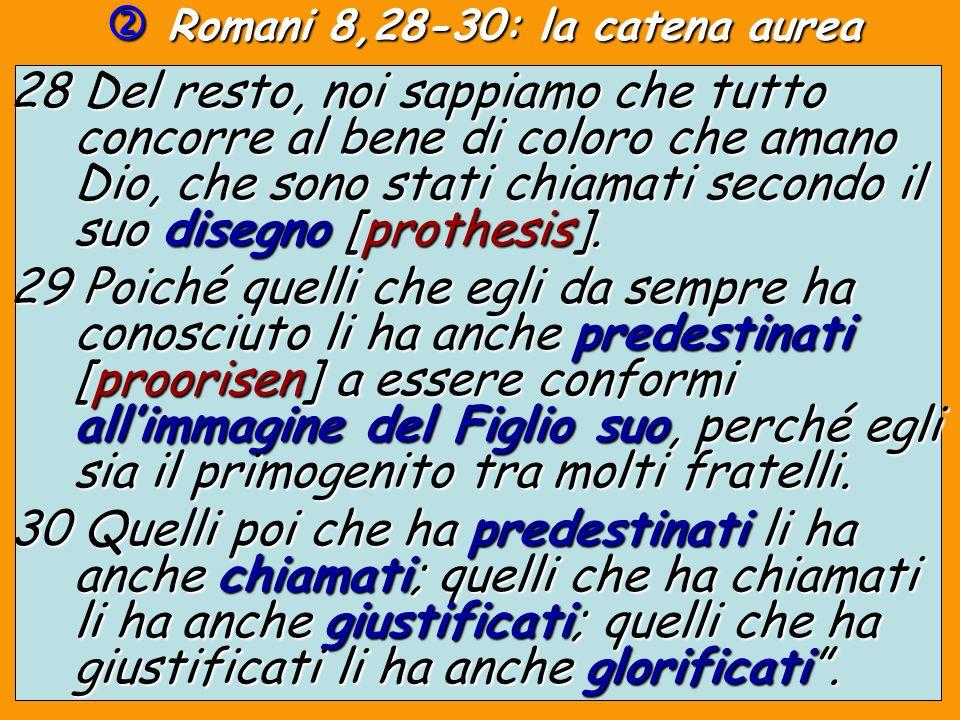Romani 8,28-30: la catena aurea Romani 8,28-30: la catena aurea 28 Del resto, noi sappiamo che tutto concorre al bene di coloro che amano Dio, che son