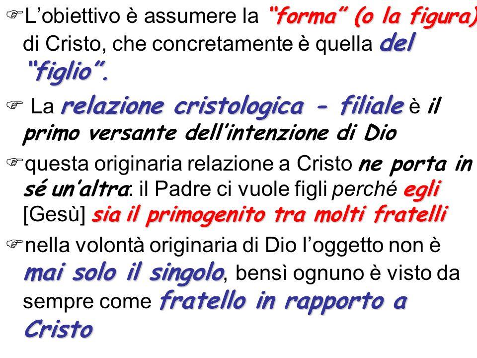 forma (o la figura) del figlio. Lobiettivo è assumere la forma (o la figura) di Cristo, che concretamente è quella del figlio. relazione cristologica