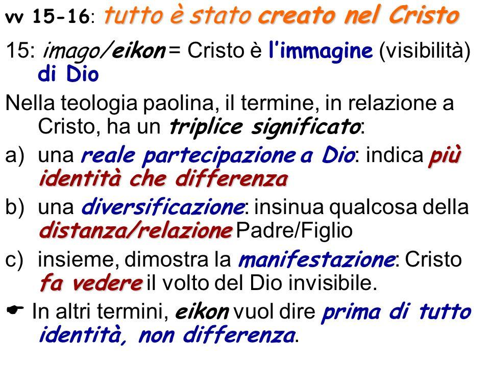 tutto è stato creato nel Cristo vv 15-16 : tutto è stato creato nel Cristo 15: imago/eikon = Cristo è limmagine (visibilità) di Dio Nella teologia pao