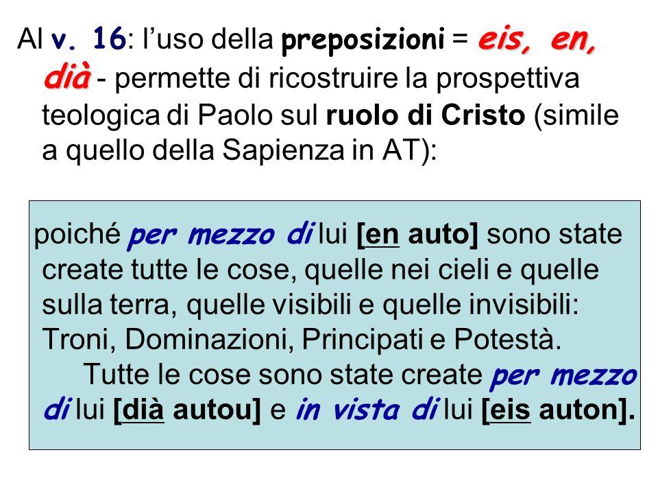 eis, en, dià Al v. 16 : luso della preposizioni = eis, en, dià - permette di ricostruire la prospettiva teologica di Paolo sul ruolo di Cristo (simile