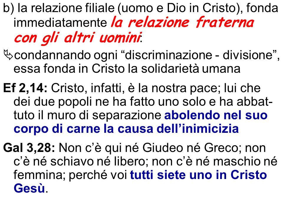 b) la relazione filiale (uomo e Dio in Cristo), fonda immediatamente la relazione fraterna con gli altri uomini : condannando ogni discriminazione - d