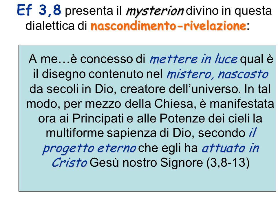 Il tema viene svolto nellinno in tre tappe : 1)nel suo piano eterno (3-6) 2)nella sua attuazione storica (7-9) 3)e nel suo compimento escatologico (10).