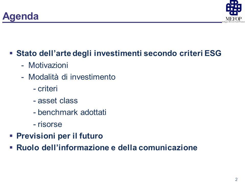 Agenda Stato dellarte degli investimenti secondo criteri ESG -Motivazioni -Modalità di investimento -criteri -asset class -benchmark adottati -risorse Previsioni per il futuro Ruolo dellinformazione e della comunicazione 2
