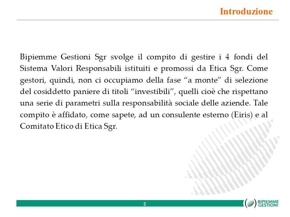 3 Nota di metodo In questa presentazione porremo lattenzione sulla gestione di un portafoglio azionario socialmente responsabile.