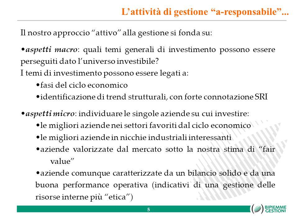 5 Il nostro approccio attivo alla gestione si fonda su: aspetti macro: quali temi generali di investimento possono essere perseguiti dato luniverso investibile.