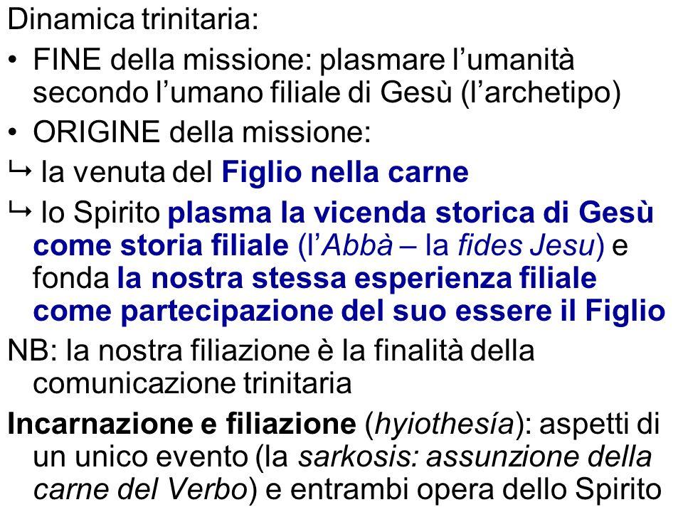 Dinamica trinitaria: FINE della missione: plasmare lumanità secondo lumano filiale di Gesù (larchetipo) ORIGINE della missione: la venuta del Figlio n