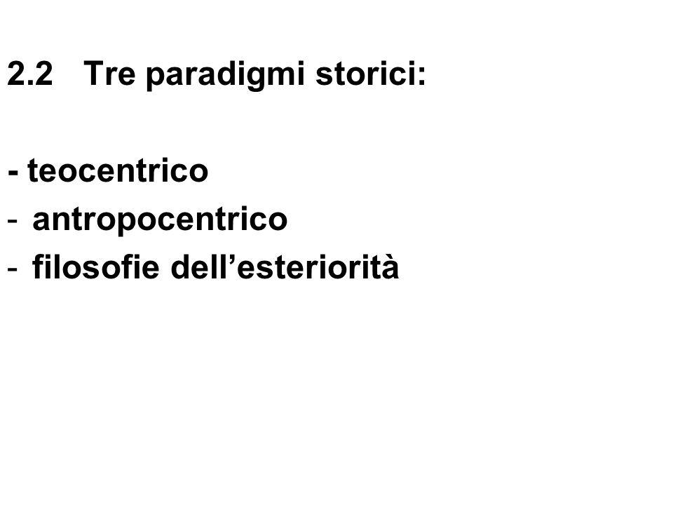 2.2 Tre paradigmi storici: - teocentrico -antropocentrico -filosofie dellesteriorità