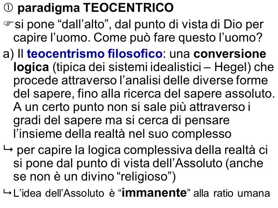 paradigma TEOCENTRICO si pone dallalto, dal punto di vista di Dio per capire luomo. Come può fare questo luomo? a) Il teocentrismo filosofico: una con