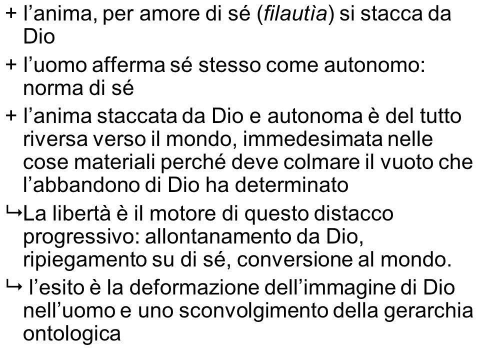 + lanima, per amore di sé (filautìa) si stacca da Dio + luomo afferma sé stesso come autonomo: norma di sé + lanima staccata da Dio e autonoma è del t