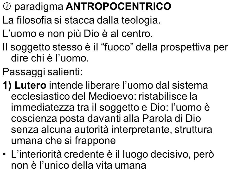 paradigma ANTROPOCENTRICO La filosofia si stacca dalla teologia. Luomo e non più Dio è al centro. Il soggetto stesso è il fuoco della prospettiva per