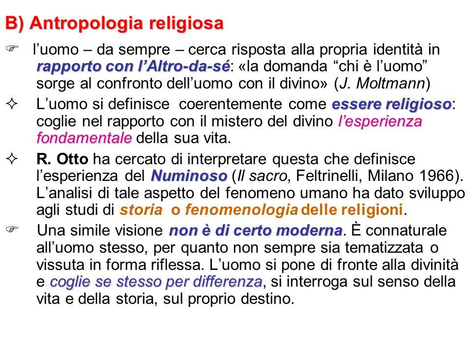 B) Antropologia religiosa rapporto con lAltro-da-sé luomo – da sempre – cerca risposta alla propria identità in rapporto con lAltro-da-sé: «la domanda