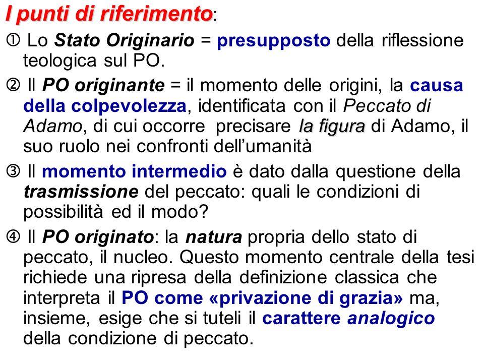 Ipunti di riferimento I punti di riferimento : Lo Stato Originario = presupposto della riflessione teologica sul PO. la figura Il PO originante = il m