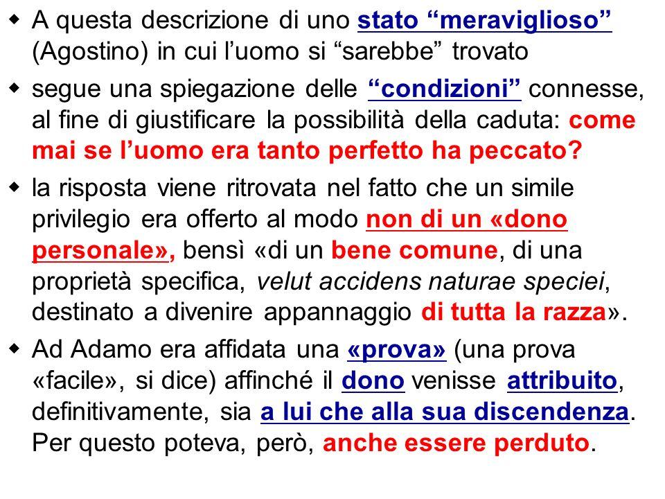 A questa descrizione di uno stato meraviglioso (Agostino) in cui luomo si sarebbe trovato segue una spiegazione delle condizioni connesse, al fine di