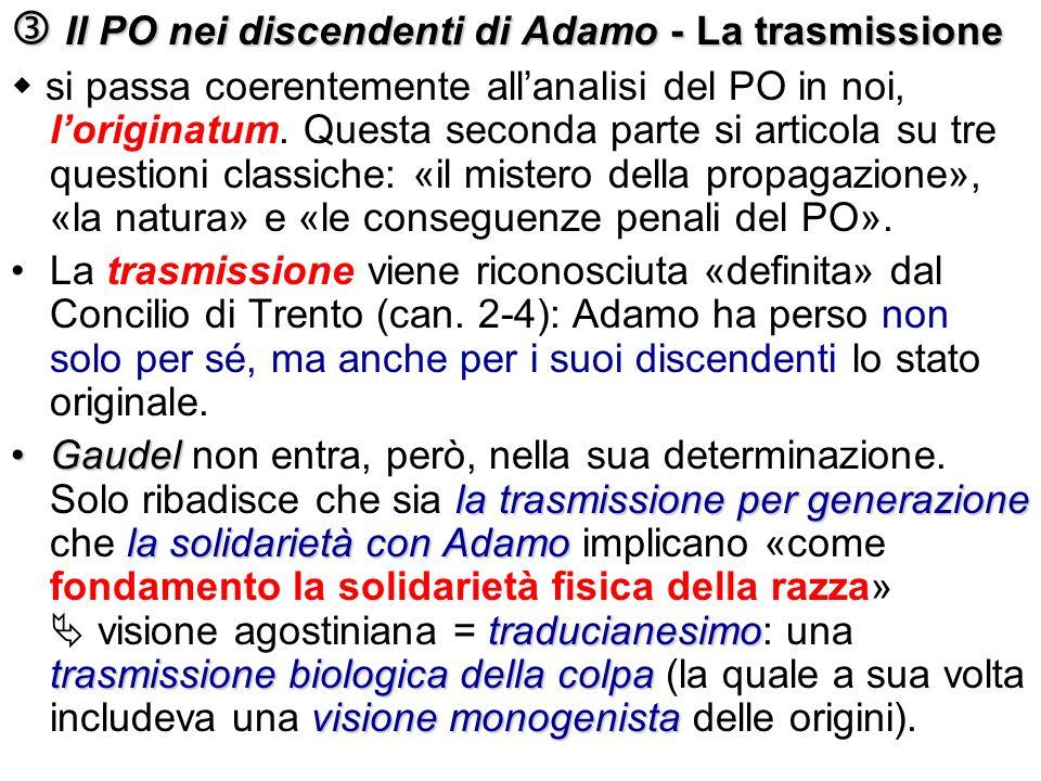 Il PO nei discendenti di Adamo - La trasmissione Il PO nei discendenti di Adamo - La trasmissione si passa coerentemente allanalisi del PO in noi, lor