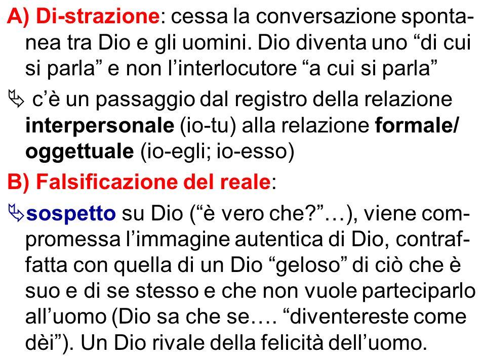 A) Di-strazione: cessa la conversazione sponta- nea tra Dio e gli uomini. Dio diventa uno di cui si parla e non linterlocutore a cui si parla cè un pa