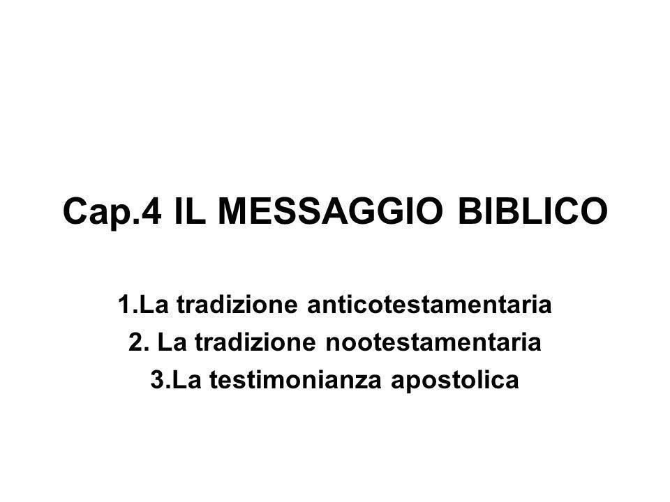 Cap.4 IL MESSAGGIO BIBLICO 1.La tradizione anticotestamentaria 2. La tradizione nootestamentaria 3.La testimonianza apostolica