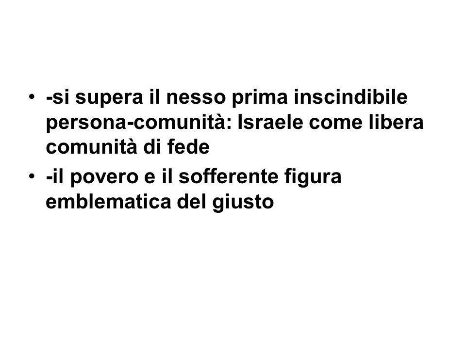 -si supera il nesso prima inscindibile persona-comunità: Israele come libera comunità di fede -il povero e il sofferente figura emblematica del giusto