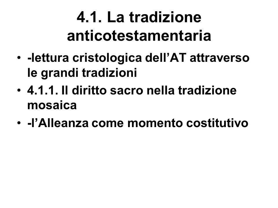 4.1. La tradizione anticotestamentaria -lettura cristologica dellAT attraverso le grandi tradizioni 4.1.1. Il diritto sacro nella tradizione mosaica -