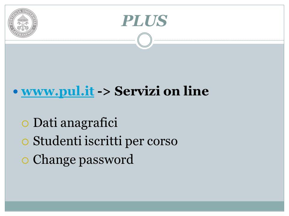 PLUS www.pul.it -> Servizi on line www.pul.it Dati anagrafici Studenti iscritti per corso Change password