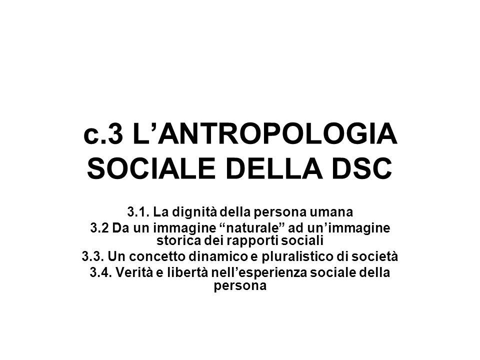 c.3 LANTROPOLOGIA SOCIALE DELLA DSC 3.1. La dignità della persona umana 3.2 Da un immagine naturale ad unimmagine storica dei rapporti sociali 3.3. Un