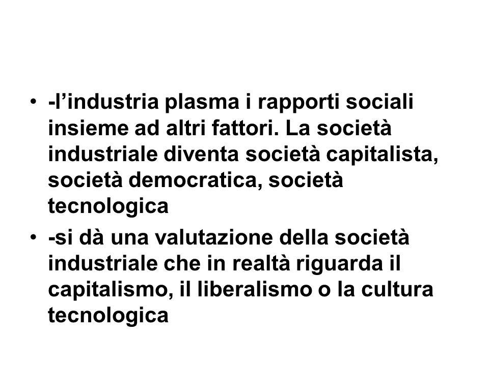 -lindustria plasma i rapporti sociali insieme ad altri fattori. La società industriale diventa società capitalista, società democratica, società tecno