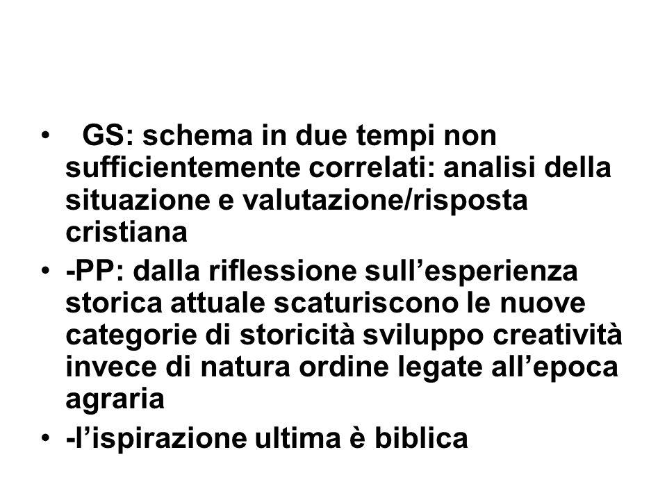 GS: schema in due tempi non sufficientemente correlati: analisi della situazione e valutazione/risposta cristiana -PP: dalla riflessione sullesperienz