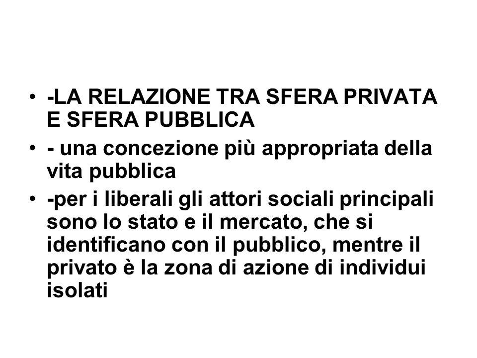 -LA RELAZIONE TRA SFERA PRIVATA E SFERA PUBBLICA - una concezione più appropriata della vita pubblica -per i liberali gli attori sociali principali so