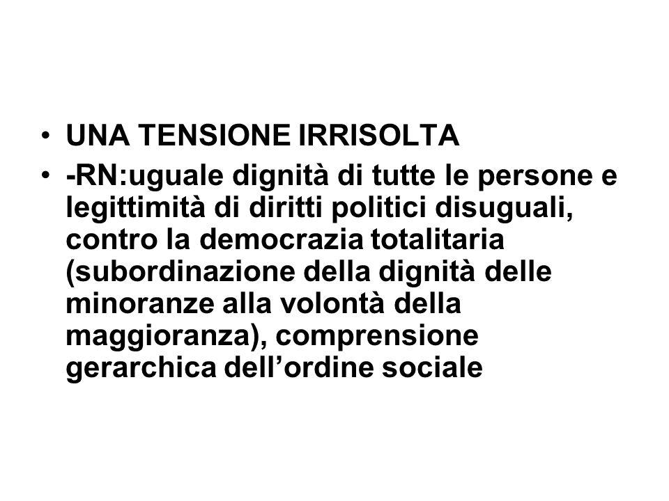 UNA TENSIONE IRRISOLTA -RN:uguale dignità di tutte le persone e legittimità di diritti politici disuguali, contro la democrazia totalitaria (subordina